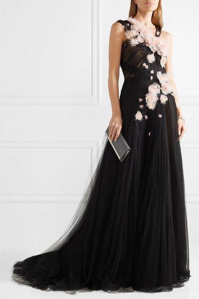 7bdb7823 Marchesa - Feather-embellished Appliquéd Tulle Gown - Black ...