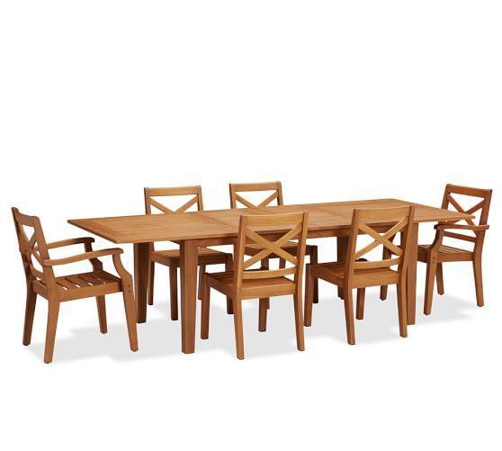 Hampstead Teak Rectangular Extending Dining Table  Chair Set