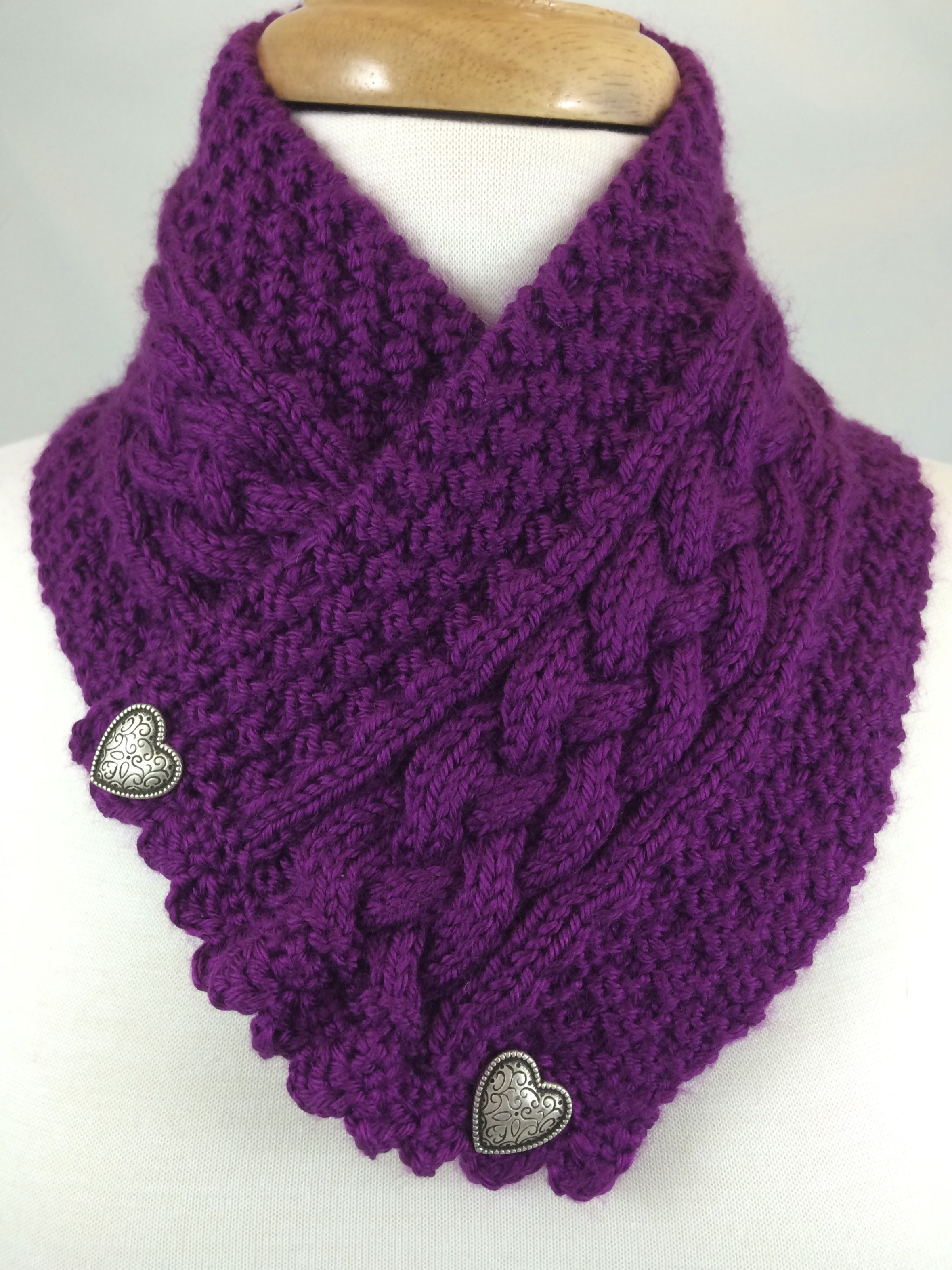 Plum Cable #Neckwarmer Silver Heart Buttons Hand knit with Caron ...