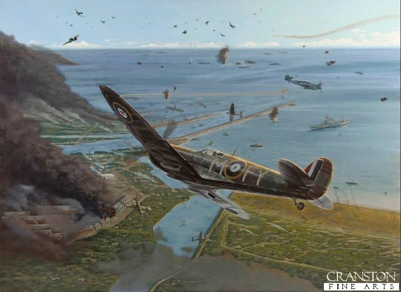 Melee Over Dunkirk by Brian Bateman.  No.611 Sqn Spitfire Mk.Ia of Colin Macfie shoots down a Ju87 Stuka in early May 1940.