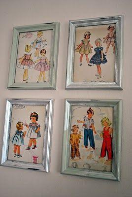 framed vintage sewing patterns