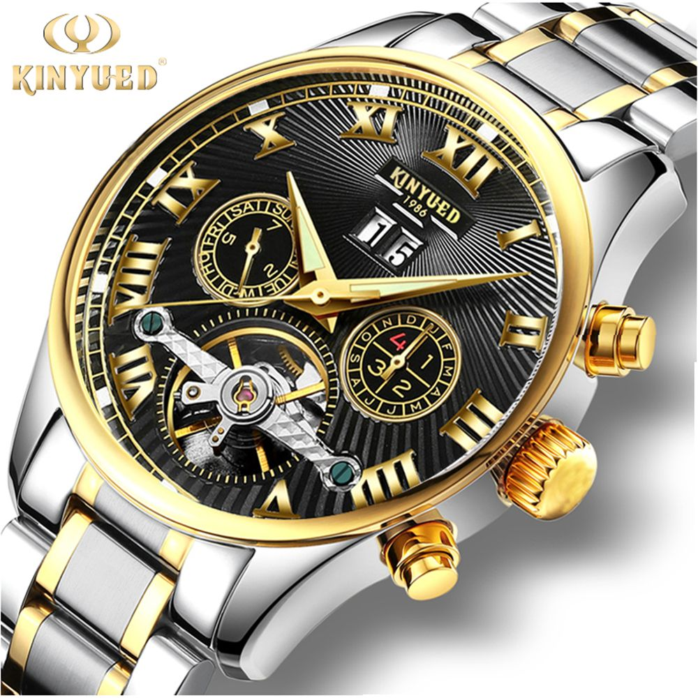 kinyued skeleton tourbillon mechanical watch automatic men classic black gold stainless steel mechanical wrist watches