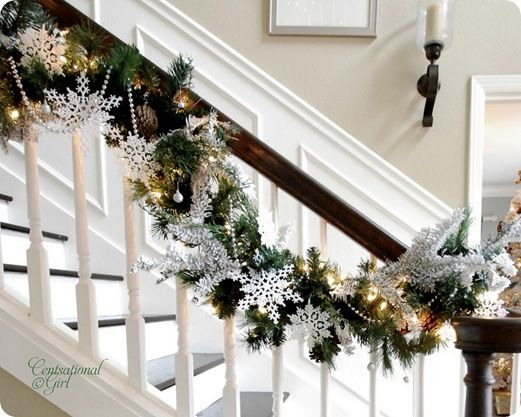 snowflake garland for stairs christmas