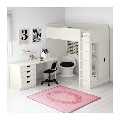 Stuva loft bed with 4 drawers 2 doors white lofts and for Camerette bimbi ikea