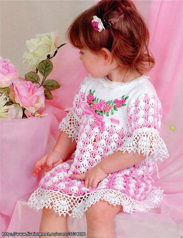 crochet baby frock Pink and White Floral Dress free crochet graph pattern
