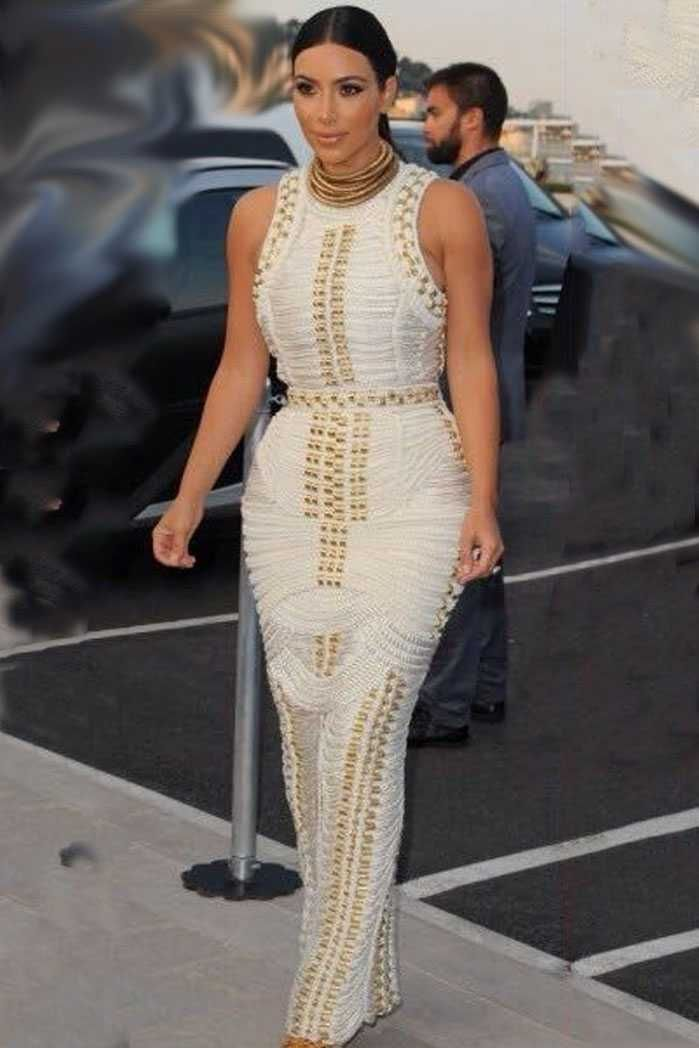 dd8c2ce3158 Herve Leger Studded Kim Kardashian White Long Bandage Dresses ...