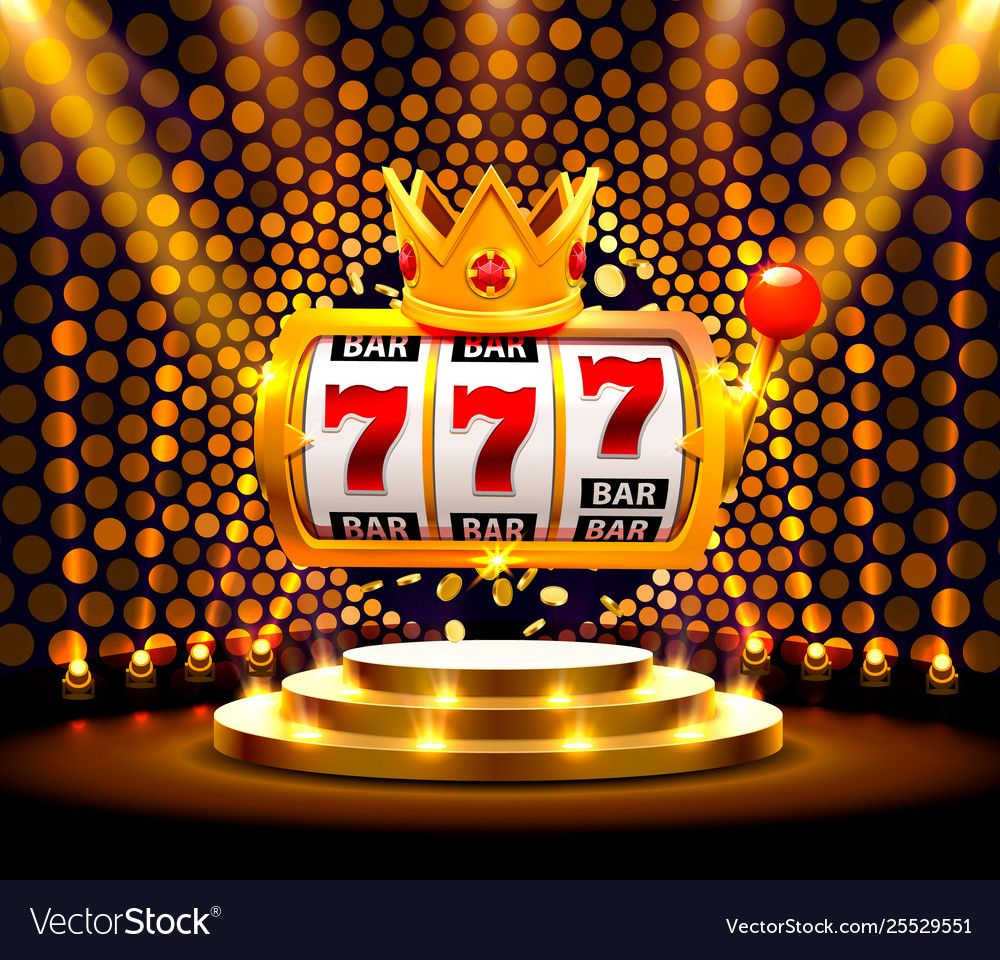 King slots 777 banner casino on golden Royalty Free Vector