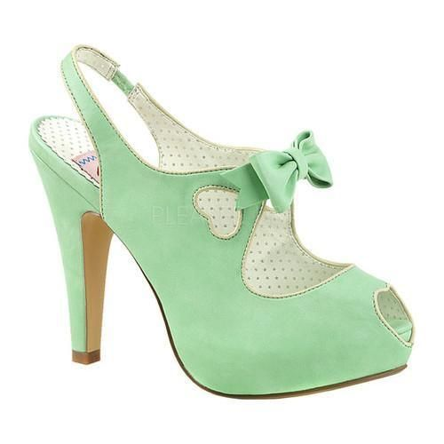 Pin Up Couture Siren 03 Pink Faux Leather High Heel Mules Teal Bow Vintage Retro