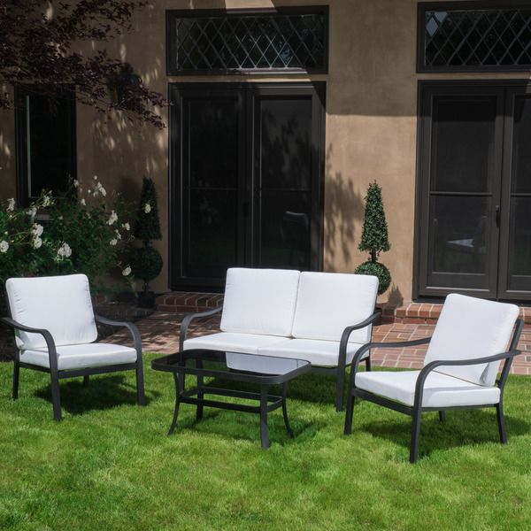 Christopher Knight Home San Ramon Outdoor 4 Piece Sofa Set With Cushions    Overstock™