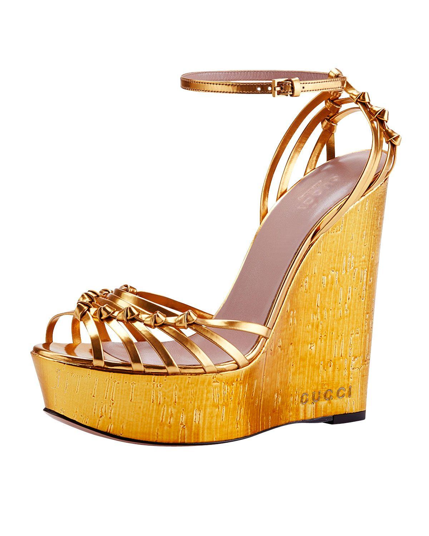 e490d5c31b14 Gucci Alice Metallic Knot Cork Wedge