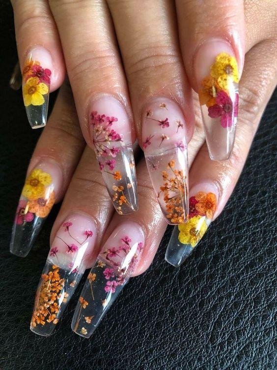 40 Super Fabulous Dried Flower Nail Art Designs Flower Nails Acrylic Nail Designs Nail Art Designs