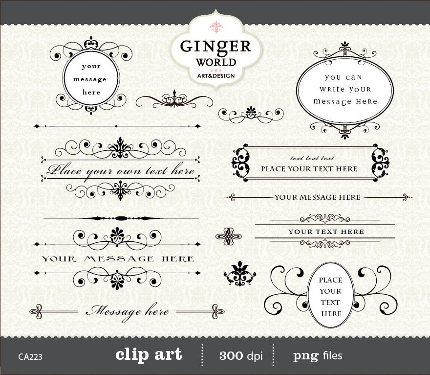 Calligraphy Vintage Clip art clipart diy wedding by GingerWorld - address label format