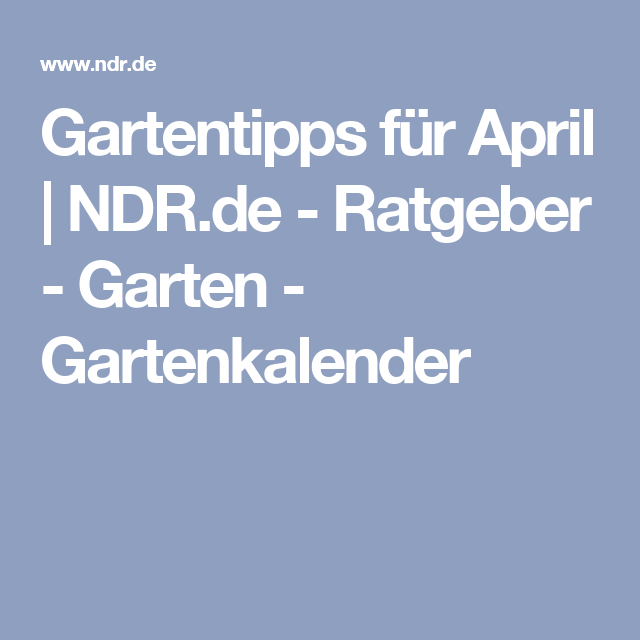 Ratgeber Garten gartentipps für april ndr de ratgeber garten gartenkalender