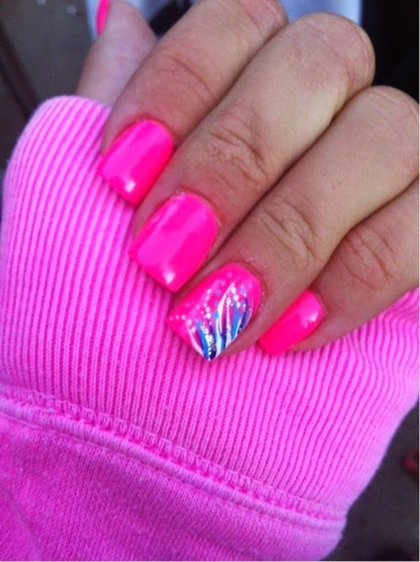 85 Hot Pink Nail Art Designs For Girls | Pink nails, Hot pink nails ...