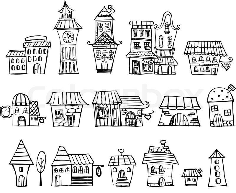 StockVektor von 'CartoonVektorMärchen Häuser zeichnen