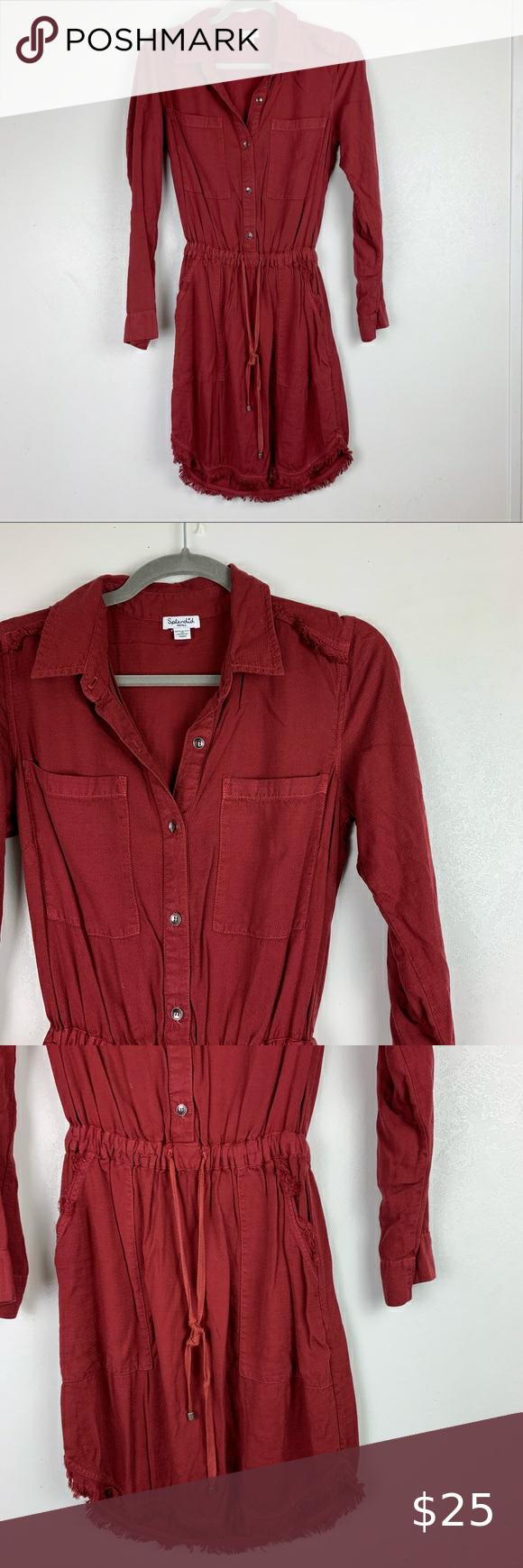 Splendid Women S Red Long Sleeve Dress Button Down Splendid Women S Dark Red Long Sleeve Dress Button Fro Red Long Sleeve Dress Long Sleeve Dress Button Dress [ 1740 x 580 Pixel ]