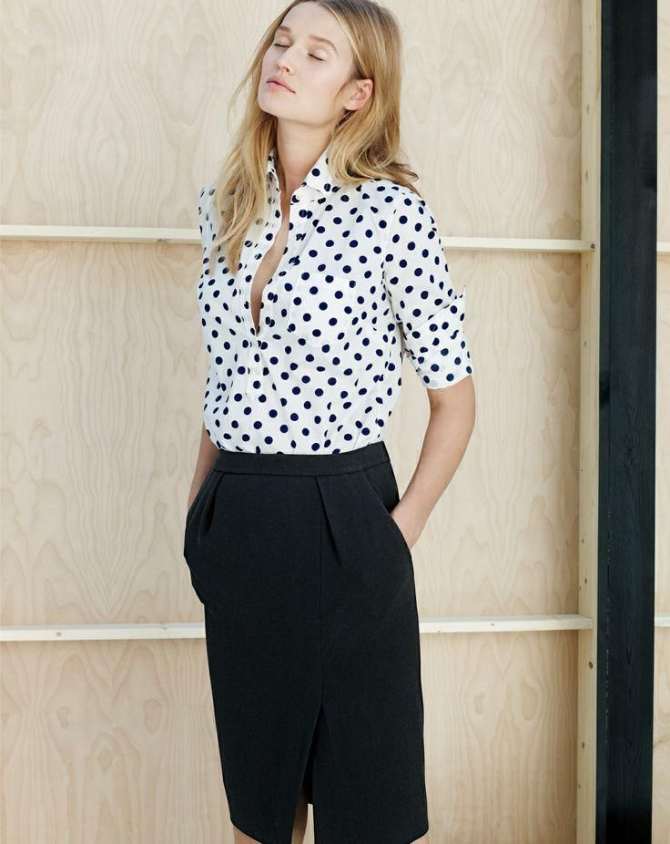 790b438c6d419d J.Crew polka-dot popover shirt and the drapey crepe pencil skirt. Mehh on  the outfit, but I really like the shirt!