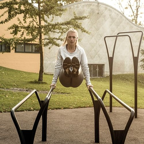 Outdoor gym equipment for fitness like calisthencs, crossfit and hiit training