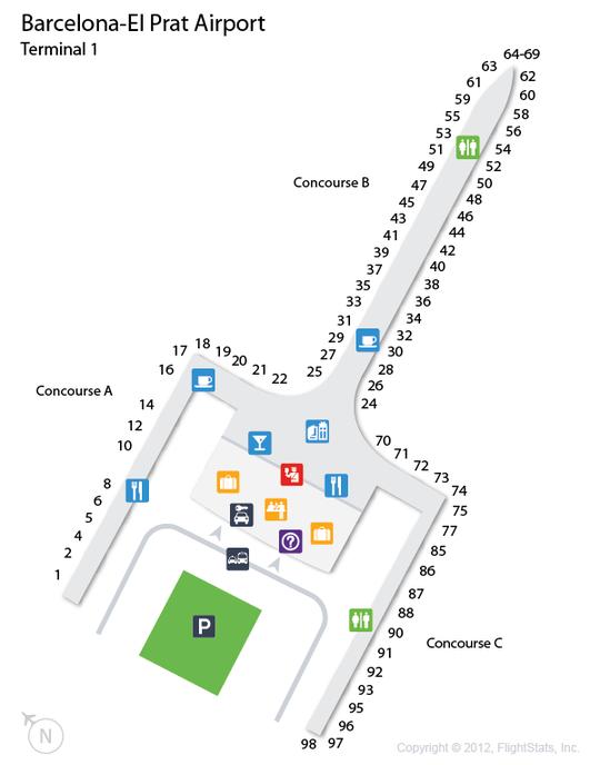 Mapa Terminal 1 Barcelona.Bcn Barcelona El Prat Airport Terminal Map Airport Map
