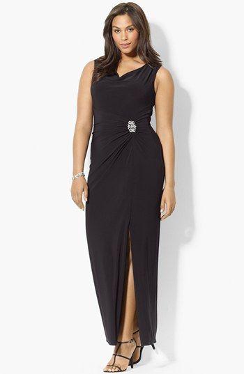 lauren ralph lauren embellished jersey gown (plus size) available
