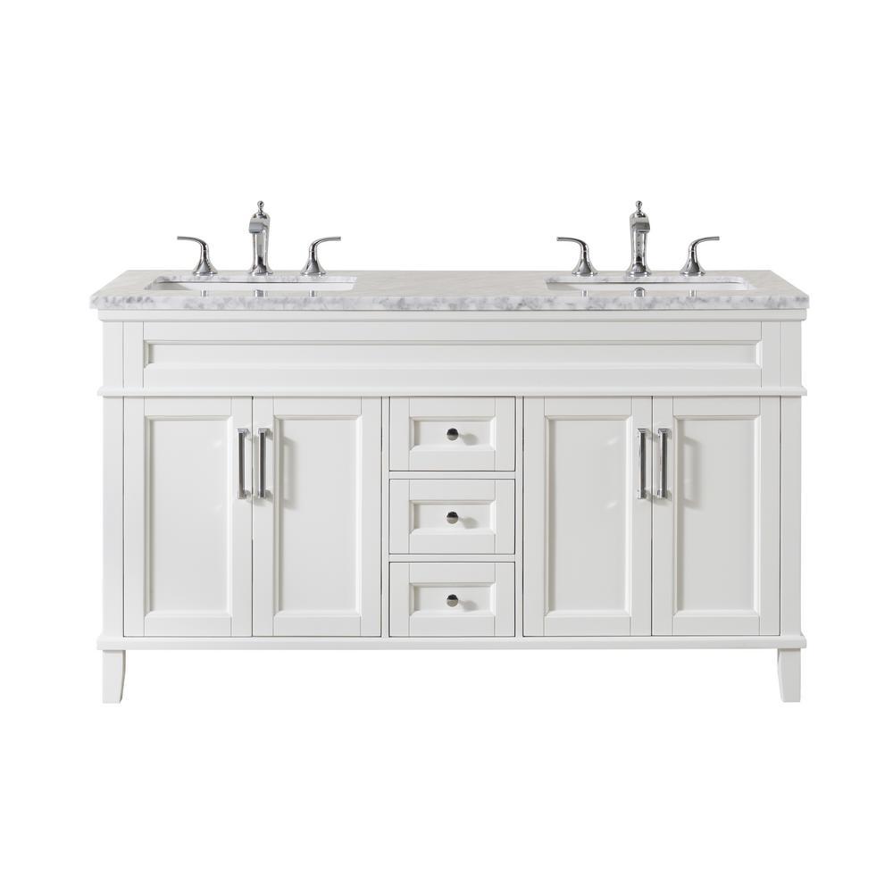 Stufurhome Melody 59 In Bath Vanity In White With Marble Vanity