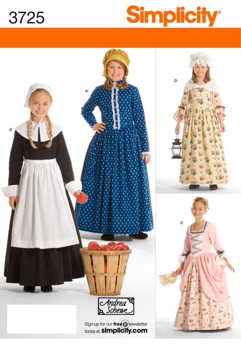 The pattern I'm using to make colonial dresses for the girls to wear at Williamsburg this Christmas.
