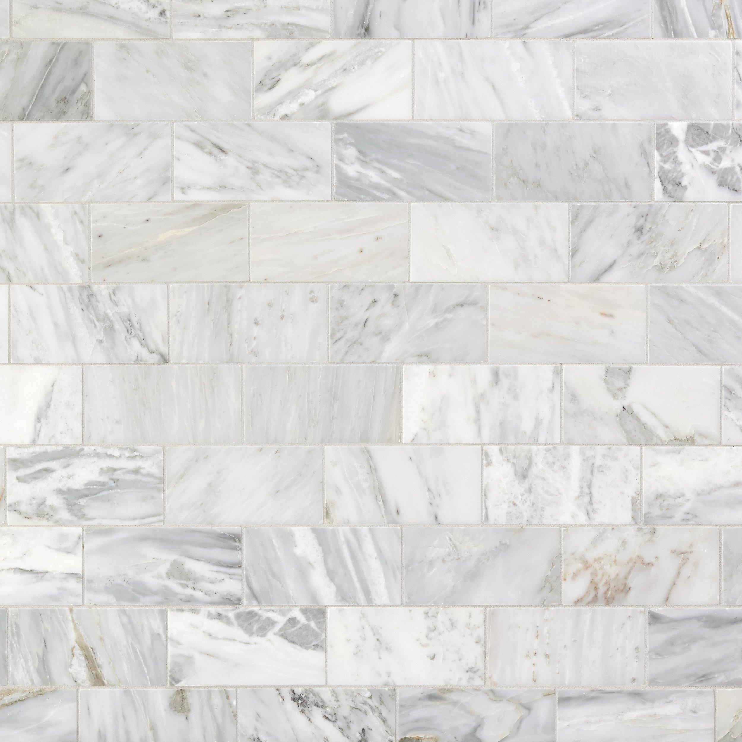 Carrara White Polished Marble Tile Honed