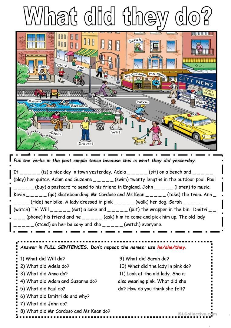 The past simple tense with a picture worksheet - Free ESL printable ...