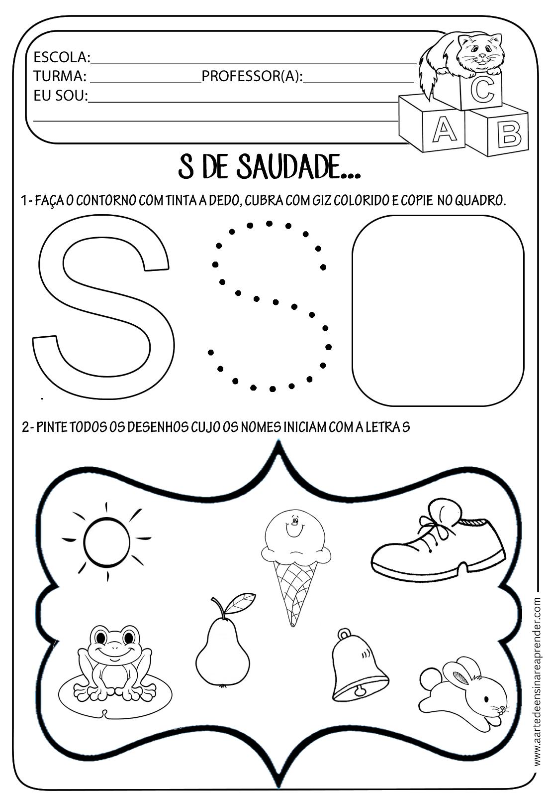 Amado Atividade pronta - Letra S | Atividades, Educação infantil e Educação CY06
