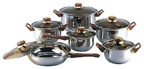 1810 Stainless Steel Gourmet Chef 12piece Covered Cookware Set