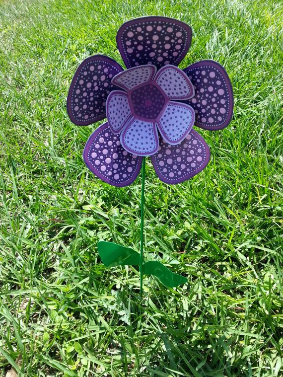 Purple Metal Flower Garden Stake Garden Art By FlowerPowerShowers