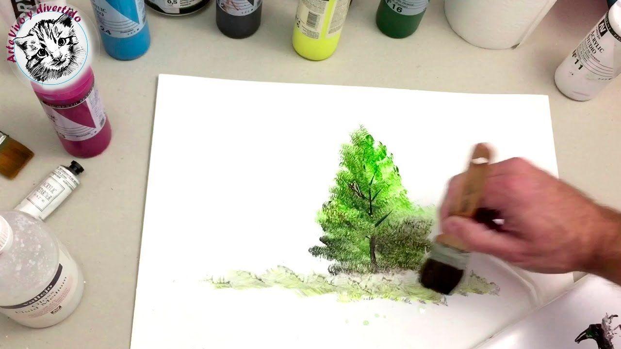 Como Pintar Con Acrilicos Paso A Paso 1 Materiales Y Pintar Un Arbol Facil Como Pintar En Oleo Pintura Acrilica Tecnicas Como Pintar