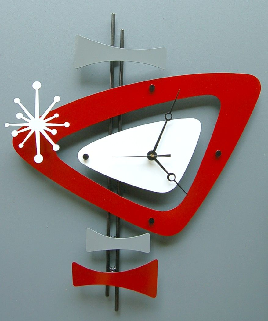 Mid century modern atomic wall clock by steve cambronne