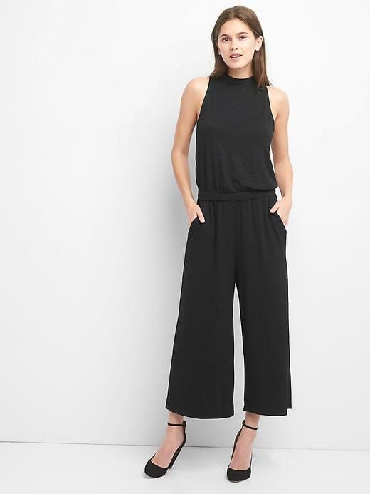3c2aec6bcea Gap Womens Softspun Tie-Back Jumpsuit True Black