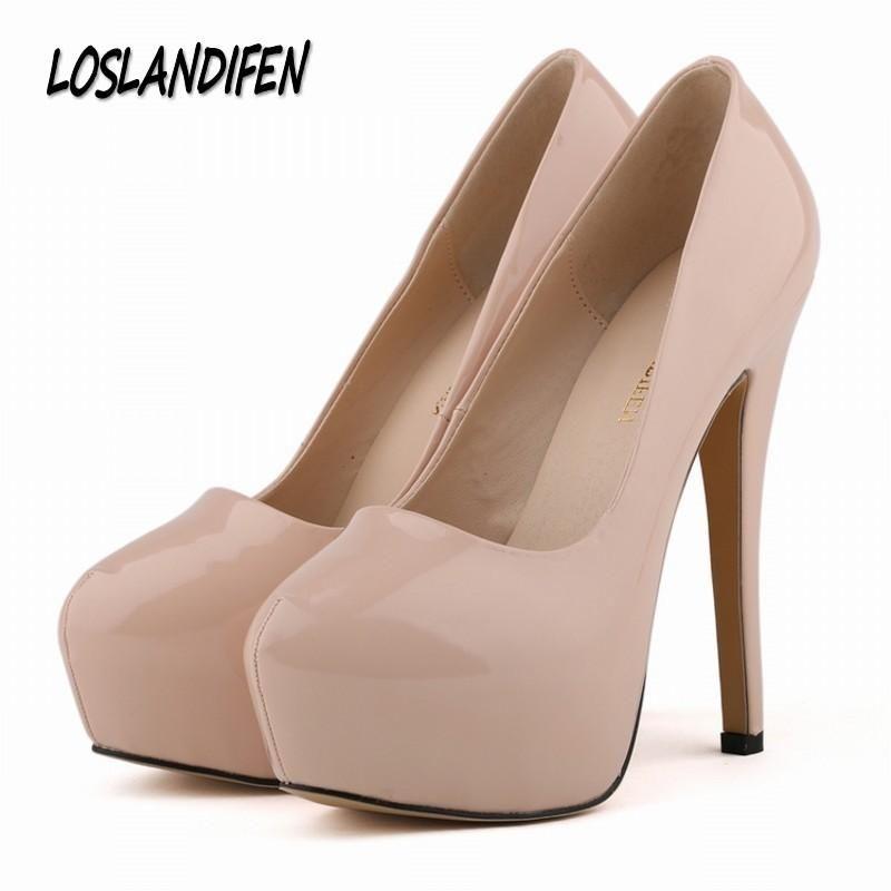6427857f4bd8 women pumps wedding party dress OL high heels shoes woman platforms  stiletto round toe ladies shoe 35-42