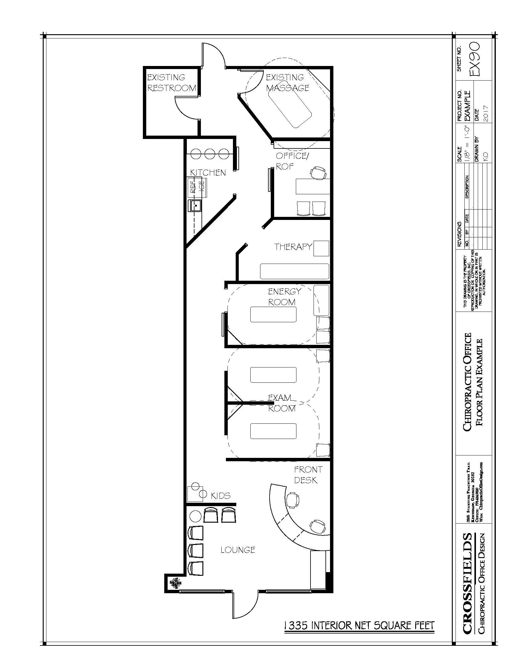 Example of chiropractic floor plan semi open adjusting for Chiropractic office layout examples