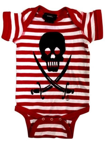 "Infant's ""Skulls & Sabers"" Onesie by Cartel Ink (Red/White)"