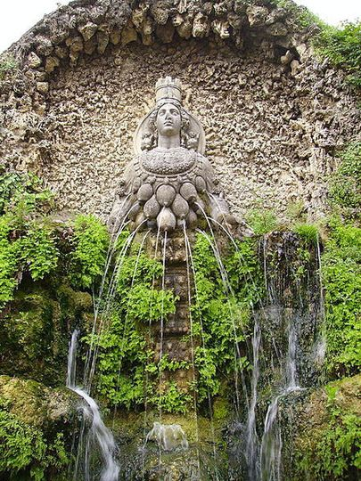 One of the 100+ fountains at Villa d'este, Tivoli. This one is set in a faux grotto. The figure is based upon the image of Artemis Ephesia