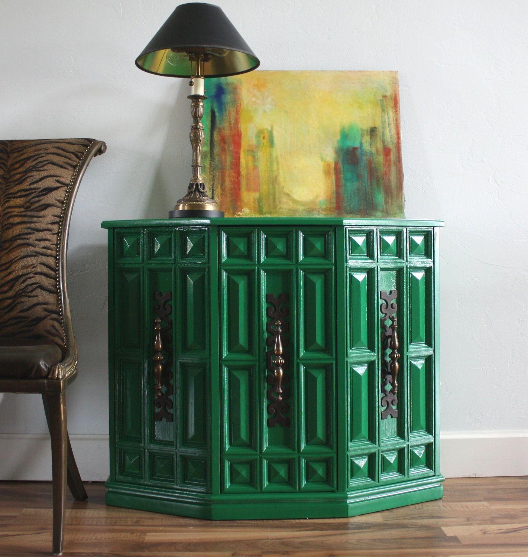Vintage Emerald Green Buffet / Cabinet / Petite Dresser / Console / Mini  Credenza. $225.00, Via Etsy.