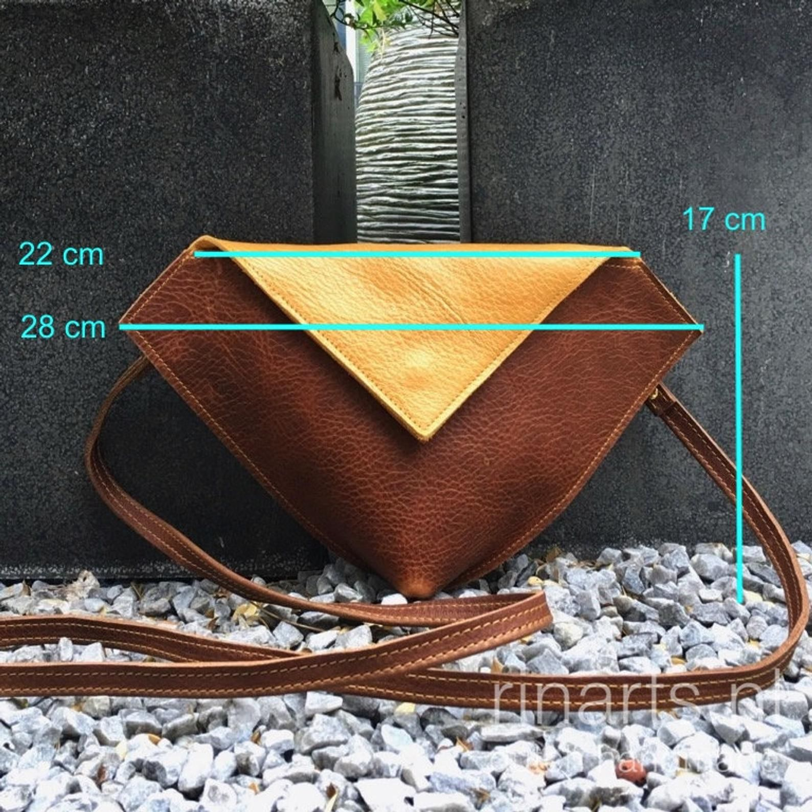 Photo of Leather crossbody bag / clutch / purse / hip bag  DIAMOND in yellow and cognac brown leather. Color block cross body bag