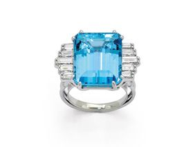 An Aquamarine and Diamond Ring, circa 1960