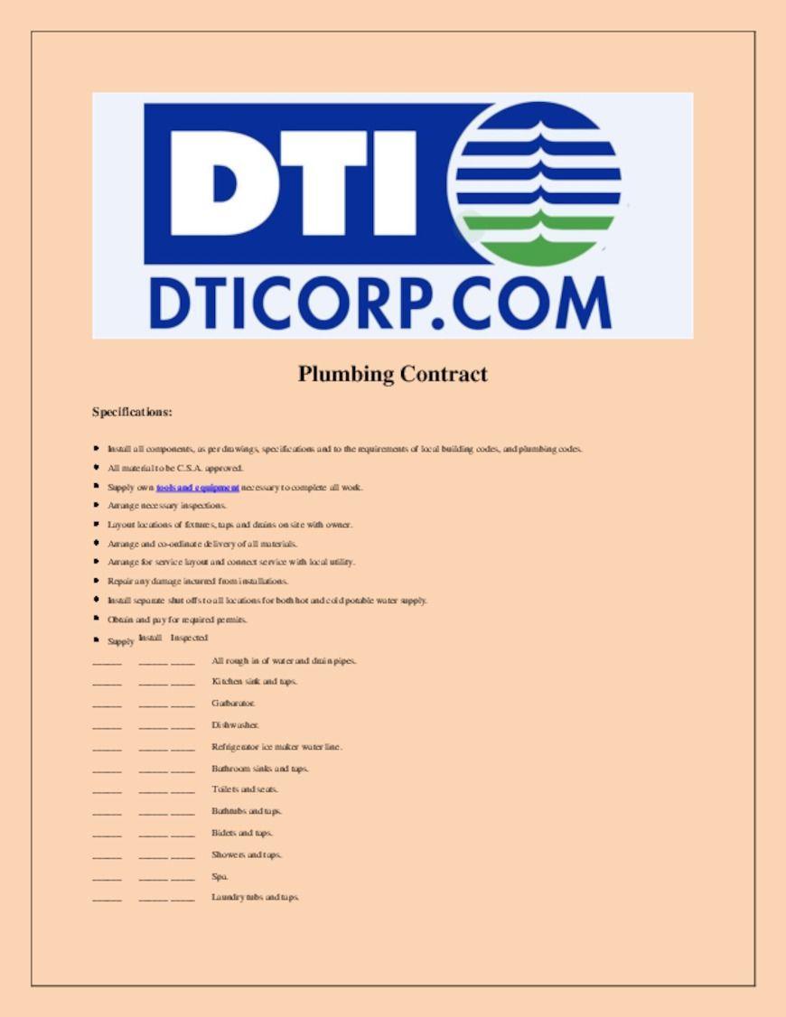 Sample Plumbing Contract Plumbing, Hvac controls, Contract