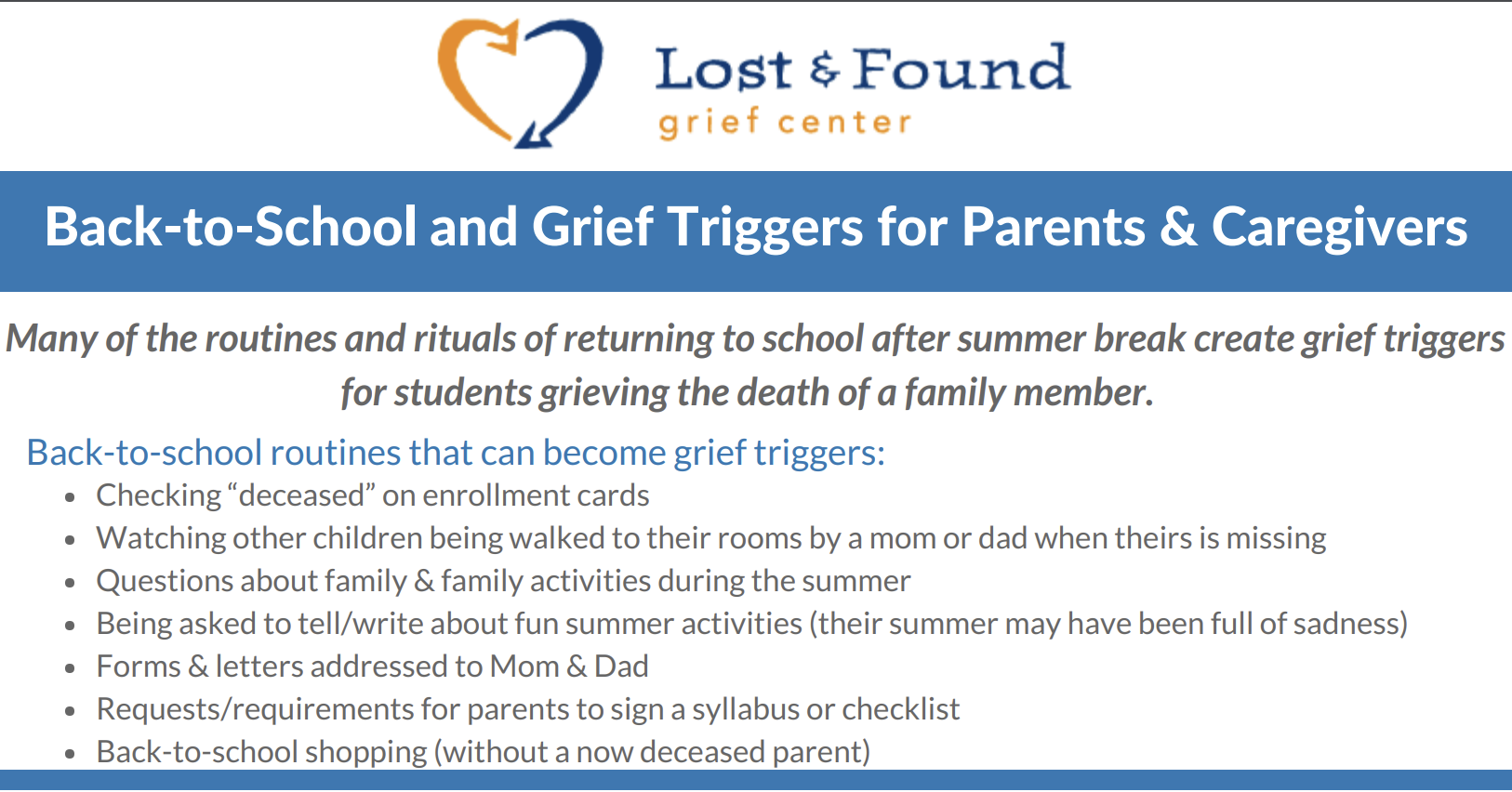 Back To School And Grief Triggers For Parents And
