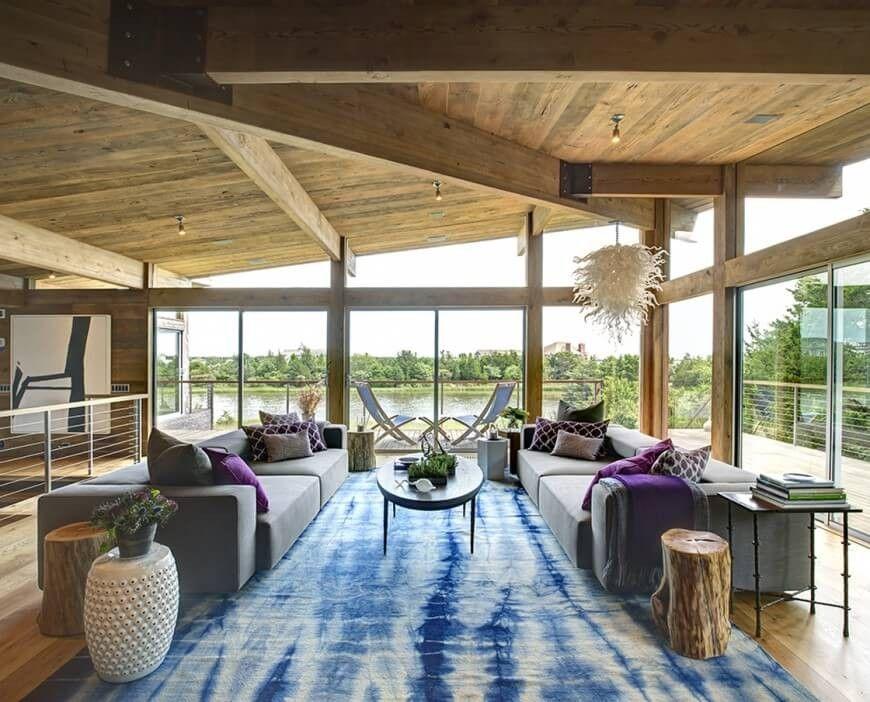 Modernes Haus bestehend aus natürlichen Holz-Balken, in den Boden - wohnzimmer blau holz