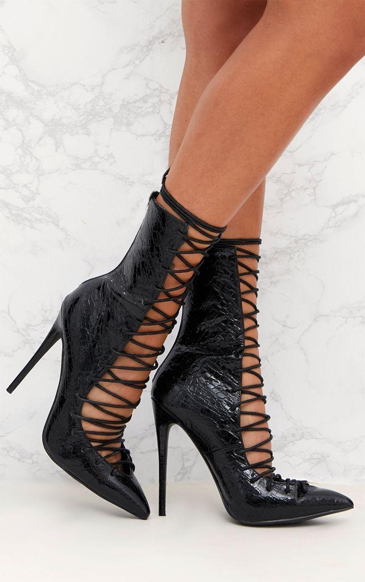 Black Lace Up Detail Croc PU Stiletto Boots