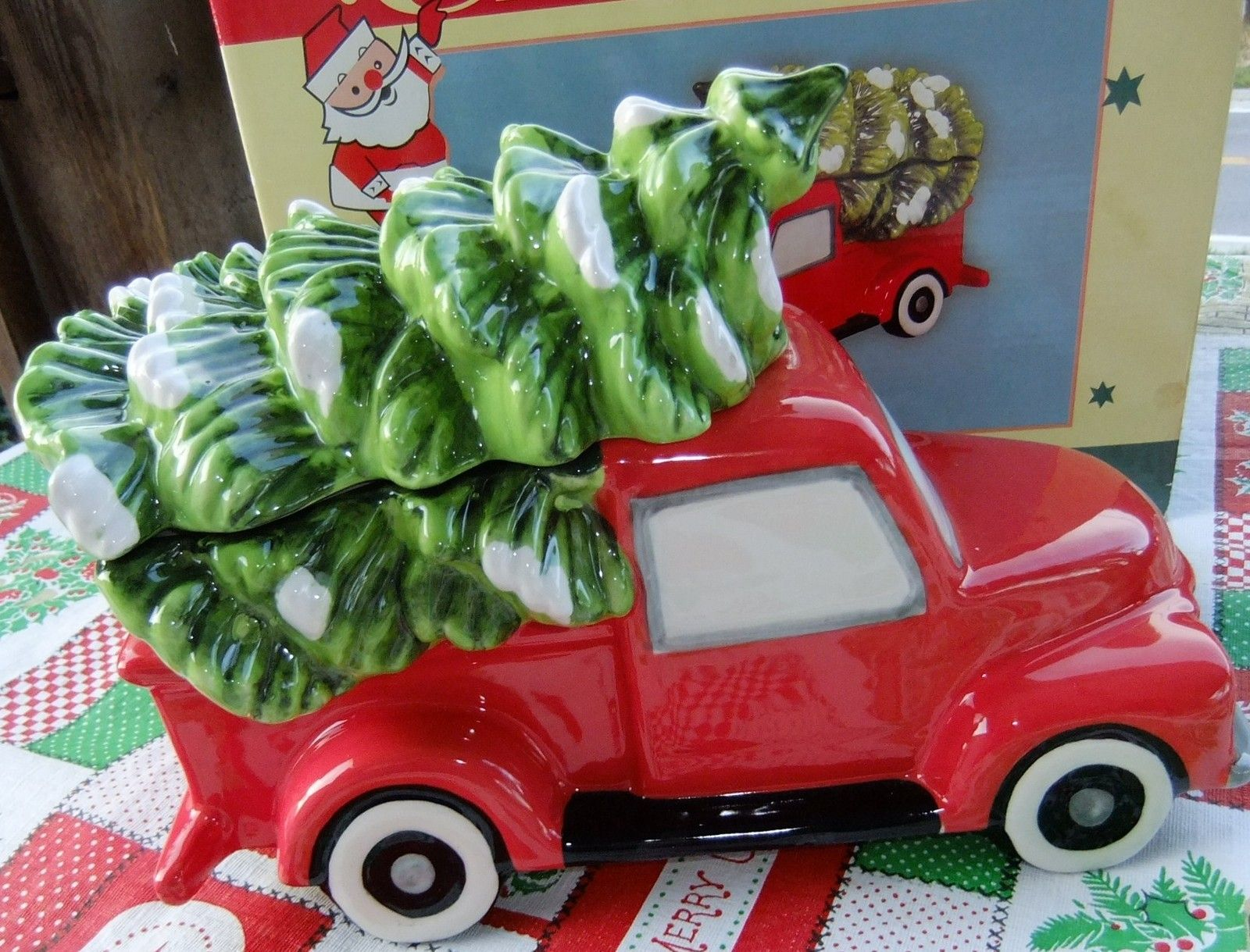 J. Thaddeus Ozark's Cookie Jar Red Truck with a Christmas Tree in ...