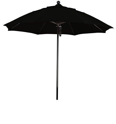 Eclipse Collection 9' Complete Fiberglass Market Umbrella Pulley Open Black/Olefin/Black