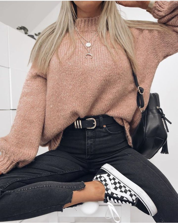 checkered vans  casual autumn outfit winter outfit style outfit inspiration   Street Style Outfitsautumn