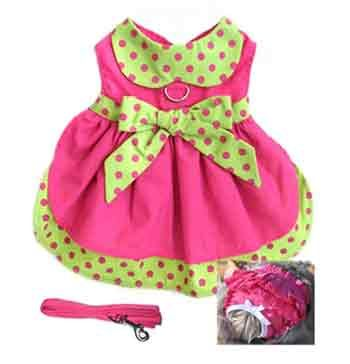 2013 fashion is here. Adorable Hot Pink and Lime Green Polka Dot Dog Dress. It is belted with a large bow. INCLUDES at Matching Fabric Leash, Panties and D-Ring