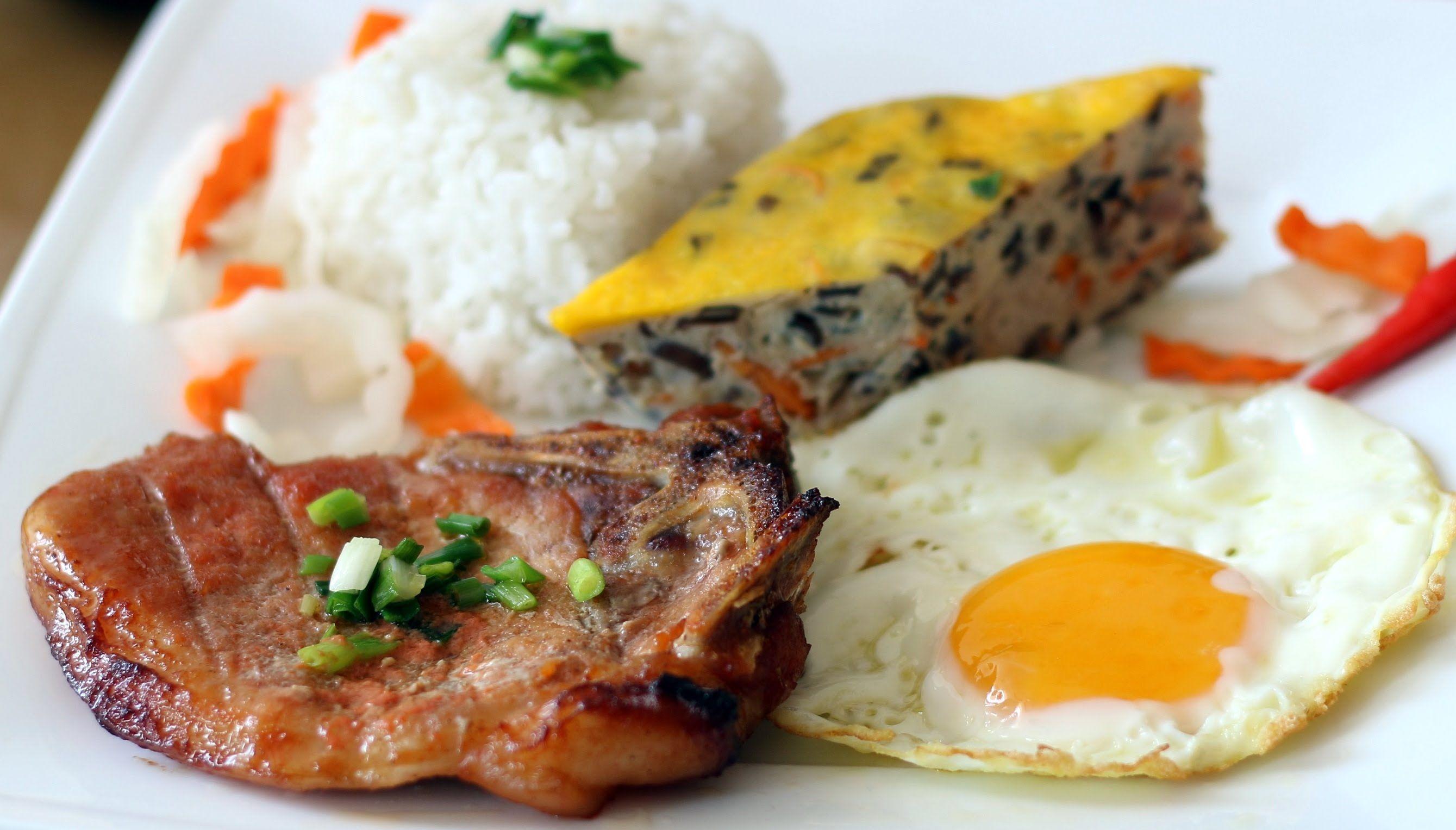 Broken Rice with Grilled Pork Chop and Meatloaf - Com Tam